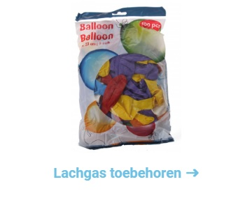 Lachgas toebehoren, slagroomspuiten crackers en ballonnen